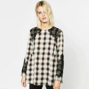 {Zara} Plaid Black Lace Trim Blouse Tunic